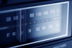 Blue Radio Dia. Lit radio dial up close in blue tint Stock Photo