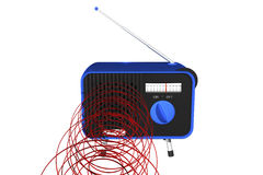 Blue radio with waves Royalty Free Stock Images