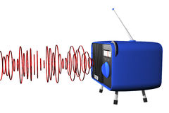 Blue radio with waves. 3d illustration of a blue retro radio with circle sound waves Royalty Free Stock Photography