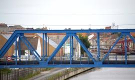 Blue rail bridge in Calais,France Royalty Free Stock Image