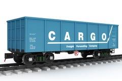 Blue rail wagon. Isolated Stock Photos