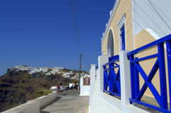 Blue railing walkway Santorini,Greece Royalty Free Stock Photography