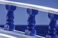 Blue railings. Close up of old ship blue railings Stock Photos