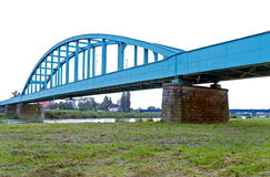 Blue railroad bridge Royalty Free Stock Photography