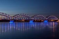 Blue railway bridge Stock Photos