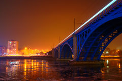 Blue Railway Bridge in Maribor, Slovenia stock photo