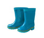 Blue rain boots on white background. Stock Image