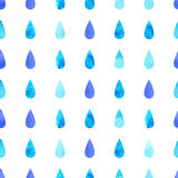 Blue rain drops. Blue vector watercolo rain drops, aquarelle seamless isolated pattern background Royalty Free Stock Images