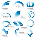 Blue rainbow logo  collection. Creative design of a multiple logos in the blue rainbow color palette Royalty Free Stock Photography