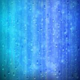 Blue rainy window background with drops and blur vector illustration