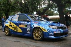 Blue rally car Royalty Free Stock Photos