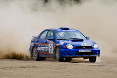 Blue rally car Subaru Impreza Royalty Free Stock Photography
