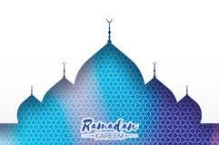 Blue Ramadan Kareem Greeting card.. Arabic window Mosque. Paper cut style. Arabesque pattern. Vector Royalty Free Stock Image