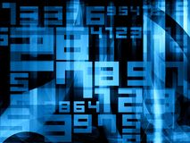 Blue random digits numbers background Stock Image