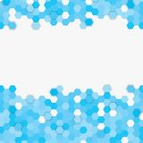 Blue random hexagon mosaic or tiles background. Blue random hexagon mosaic, tiles background. Perspective banner hex. Background with polygonal hexagonal tiles stock illustration