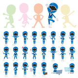 Blue Ranger. Set of various poses of Blue Ranger Royalty Free Stock Photography