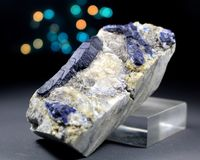 Blue Rare Afghanite Mineral Specimen. Very Beautiful Rare Blue Afghanite Mineral Specimen From Badakhshan Afghanistan Royalty Free Stock Image
