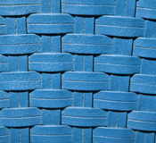 Blue Rattan. Close up of the texture of woven blue rattan Royalty Free Stock Photos
