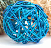 Blue Rattan Ball. A photograph of a decorative blue rattan ball Royalty Free Stock Photos