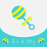 Blue rattle.  Baby boy shower card Royalty Free Stock Photography