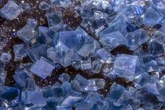 Blue Raw Fluorite Crystal , Macro, Close Up Stock Photography