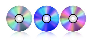 Blue-ray CD. CD's in twin color format include blue-ray Royalty Free Stock Photo