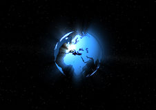 Blue ray earth. Transparent globe in blue ray effect Stock Photography