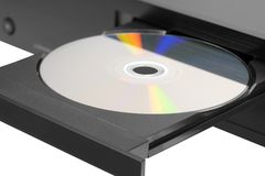Blue-ray player with a disk Royalty Free Stock Image