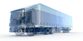 Blue x-ray truck. Blue x-ray transport truck isolated on white Royalty Free Stock Images