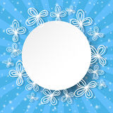 Blue rays background with abstract white flowers and place for text. Stock Images