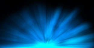 Blue rays burst. Blue luminous rays over black background Stock Images