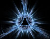 Blue rays fractal - light background Stock Images