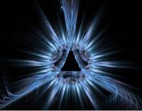 Blue rays fractal - light background stock images
