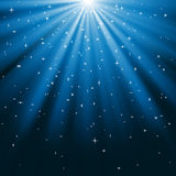 Blue Rays of Light and Stars Royalty Free Stock Photo