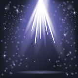 Blue Rays of Lights. Blue Rays of Magic Lights on Blurred Starry Background. Night Sky Royalty Free Stock Image