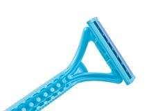 Blue razor. On white background Stock Photo