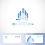 Blue real estate logo design Stock Photography