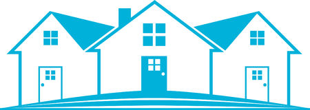 Blue Real Estate Logo House. Background Template Stock Image