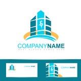Blue real estate logo icon Stock Photos