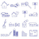 Blue real estate outline icons and symbols set Stock Images
