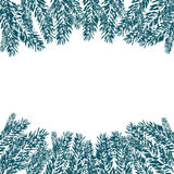 Blue, realistic fir branches in the snow in cold weather. Fir branches with the top and bottom of the picture.. On white background. Christmas vector Stock Images