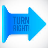 Blue realistic plastic turn right vector arrow Royalty Free Stock Images