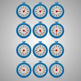 Blue realistic timers, increments from 5 to 60. 5 minutes interval, 4 rows and 3 columns on gray background, for business or education. Seconds timer. Timing Stock Photos