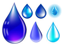 Blue realistic vector water drop set  on white background Stock Photos