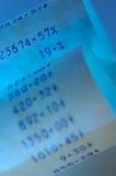 Blue Receipt Stock Image