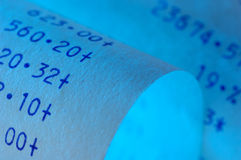 Blue Receipt stock photo