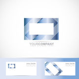 Blue rectangle 3d television logo Stock Image