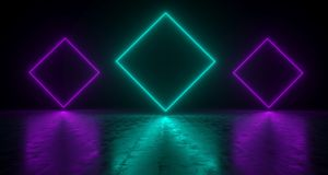 Blue Rectangle Shaped Neon Lights With Reflections On The Floor. 3D Rendering  Illustration Stock Images