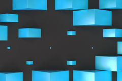 Blue rectangular shapes of random size on black background. Wall of cubes. Abstract background. 3D rendering illustration Royalty Free Stock Photo