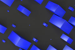 Blue rectangular shapes of random size on black background. Wall of cubes. Abstract background. 3D rendering illustration Stock Photography